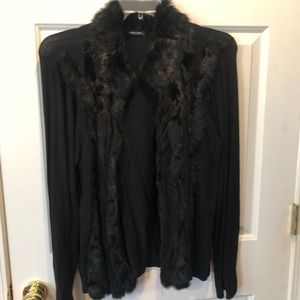 Faux fur trim cardigan